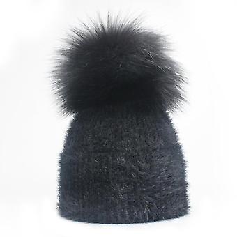 Winter Fox Pompom Kaninchen Pelz Hut und Schal, gestrickte Mütze casual
