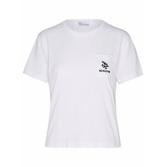 Red Valentino Vr3mg08k5pm001 Women's White Cotton T-shirt
