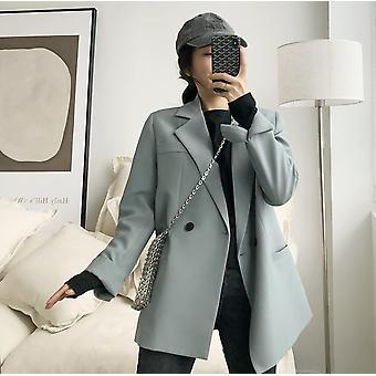Elegant Blazer Jacket -  Loose V-neck, Long Sleeve