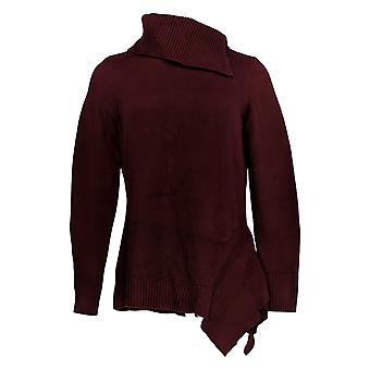 H par Halston Women's Sweater Turtleneck Asymetrical Tunic Purple A370216