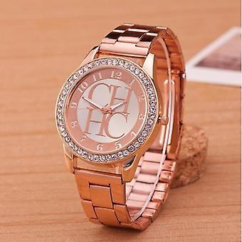 Suosituin tuotemerkki Luxury Gold Ruostumattomasta teräksestä Urheilukello Unisex Kvartsi Naiset's Watch