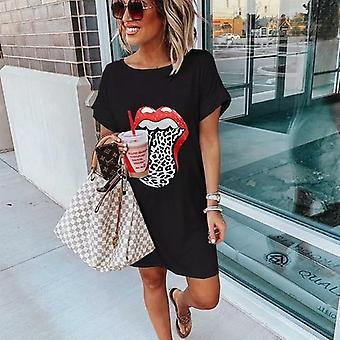 Leopard Lip Printed manga corta mujer vestido de camiseta