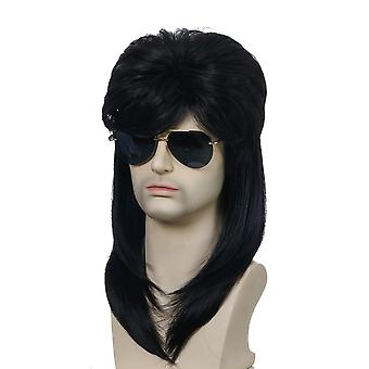 Men & apos;s Wig 70's 80's Men's Rock Party Long Lockigt hår roll Halloween Spela Head Cover