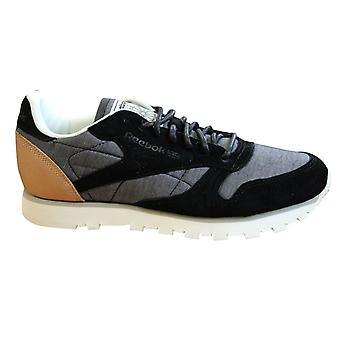 Reebok Classic Leather Fleck Black Lace Up Mens Trainers Casual Running AQ9723