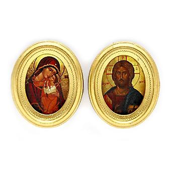 Dolls House 2 Byzantine Religious Paintings Oval Gold Frames Miniature Accessory