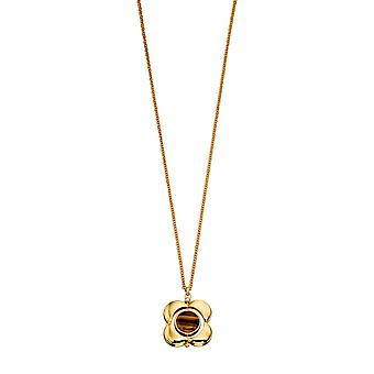 Orla Kiely Gold Plated Tigers Eye and Quartz Flower Rotating Pendant