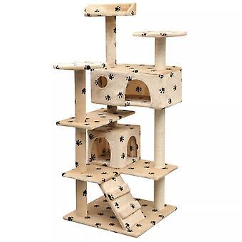 القط خدش شجرة 125 سم مخلب طباعة البيج