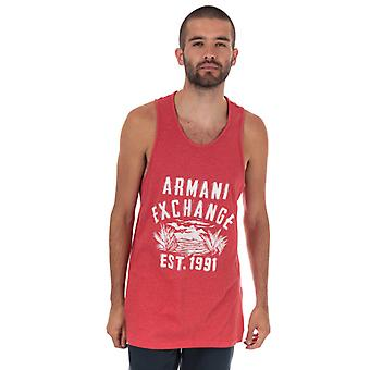 Men's Armani Exchange Large Logo Vest en Rouge