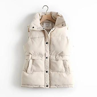 Autumn, Winter Women's Solid Loose Vest, Drawstring Stand Collar, Long Jacket