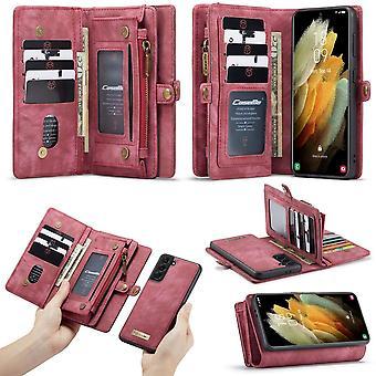 CASEME Samsung Galaxy S21+ (Plus) Retro Leather Wallet Case Red