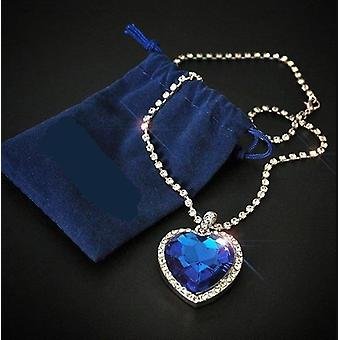 """titanic Heart Of Ocean Blue Heart Love Forever Pendant-necklace"