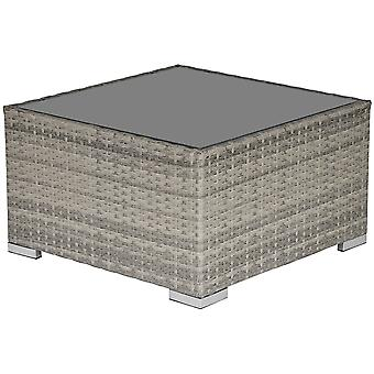 Outsunny Rattan Wicker Patio Coffee Table Ready to Use Outdoor Furniture Suitable for Garden Backyard Grey