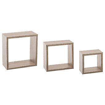 3x Quadratische Regale - Holz