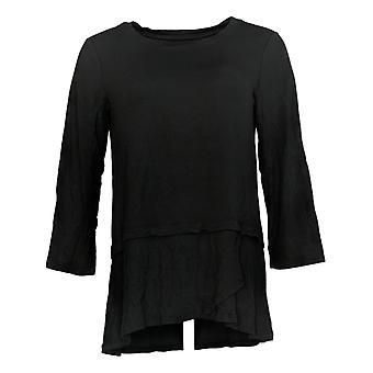 Cuddl Duds Women's Top Softwear W/ Stretch 3/4 Sleeve Peplum Black A346817