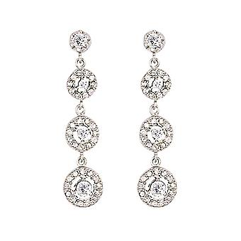 Jewelco London Ladies Rhodium Plated Sterling Silver Cubic Zirconia Trilogy Chain Drop Drop Earrings