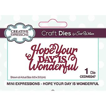 Creative Expressions Mini Expressions Collectie Cutting Dies - Hope Your Day is wonderful