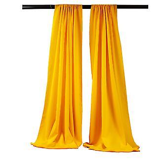 La Linen Pack-2 Polyester Poplin Backdrop Drape 96-Inch Wide By 58-Inch High, Dark Yellow