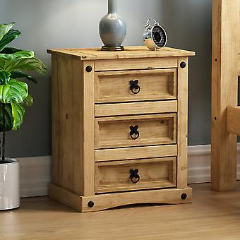 Corona 3 Drawer Bedside Chest Cabinet Mexican Solid Waxed Pine