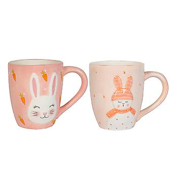 4 Piece Pink Easter Bunny Mugs Set Hand Painted Buffet Party Tableware Pink