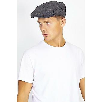 Checked Charcoal Wool Blend Flat Cap