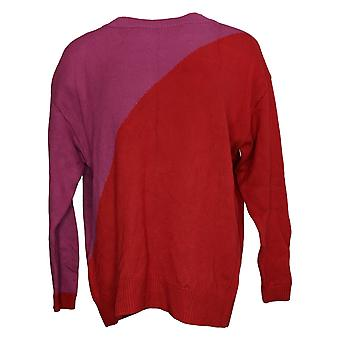 Laurie Felt Women's Sweater Bamboo Two Tone Color Block Red A388576