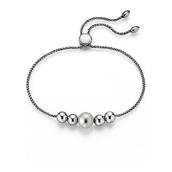 Pulsera perla Adriana blanco agua dulce 7-8 mm y bolas ajustables plata 24 cm P17