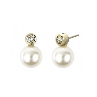 Traveller Pierced Earring - 10mm White Peaarl - Gold Plated - 113040 - 707
