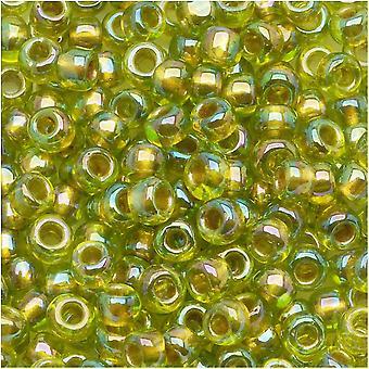 توهو جولة البذور الخرز 6/0 #996 'الذهب اصطف قوس قزح Peridot' 8g