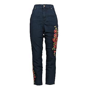 Martha Stewart Women's Pants Regular Embroidered Jeans Blue A309514