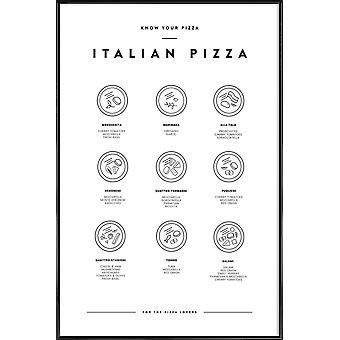 JUNIQE Print - Poznaj swoją pizzę - Plakat z jedzeniem i napojami w czerni i bieli