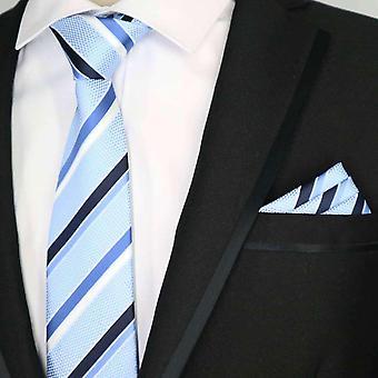 Blue black & white stripe necktie & pocket square set
