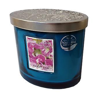Heart & Home Ellipse Twin Wick Soy Wax Candle - Sweet Pea 00276260109