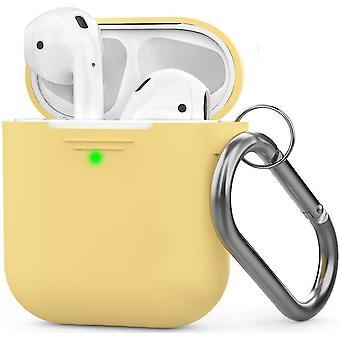 Κίτρινη περίπτωση σιλικόνης airpods με το συμβατό με πόρπη μήλο 2 &1 dt6775