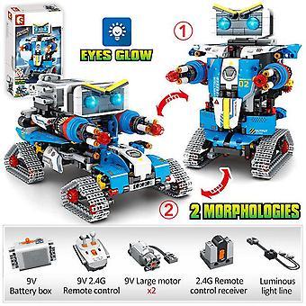 New city rc robot transformation racing car building blocks creator remote control robot weapon bricks toys for children