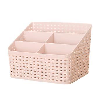 Multi-function Cosmetic Organizer Desktop Make-up Solid Organizer Storage Box(Pink)