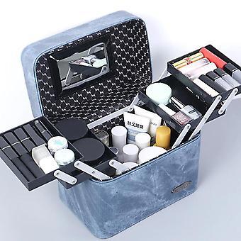Makeup Taske Multi Layer Kvinder Kosmetisk sag Høj kvalitet PU Læder Kvinde fyldes op Box smykker