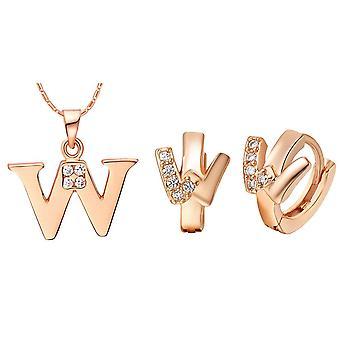 (W)  Alphabet Rhinestone Womens 26 Initial Letter Huggie Earrings Necklace Jewelry Set Rose Gold