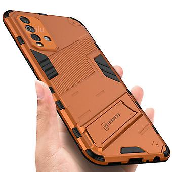 BIBERCAS Xiaomi Mi 10 Lite Case with Kickstand - Shockproof Armor Case Cover TPU Orange