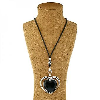 Lucite Heart With Alloy Halo Heart Pendant And Leather Necklace
