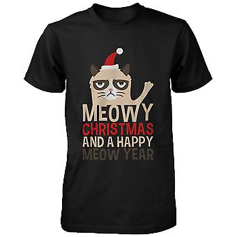 Meowy Christmas Happy Meow Year Holiday Grumpy Cat- Holiday Black Graphic Tee