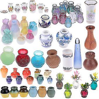 Dollhouse accessories 1/2/5/6pcs/lot cute vintage porcelain flowerpot vase jar 1:12 scale handcrafted doll house miniature
