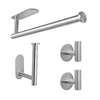 Stainless Steel Bathroom Accessories 4-piece Set Self Adhesive No-punching Installation