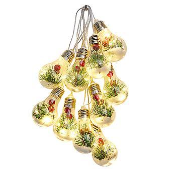Swotgdoby kunstmatige kerst rode bes &dennen naald gloeilamp string, zilver en goud