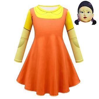 Кальмар Игровой костюм 123 Деревянный человек Кукла Костюм + маска, Косплей Костюм