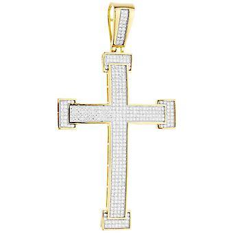 Premium Bling - 925 sterlin gümüş XL çapraz kolye altın