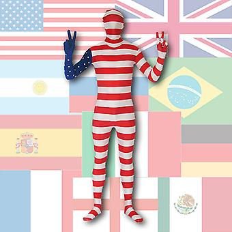 AltSkin Full Body STRETCH FABRIC Suit - World Flag Design