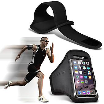 (Black) Adjustable Sweatproof/Water Resistent Sports Fitness Running Cycling Gym Armband Phone Case For Asus Zenfone Live Zb501Kl