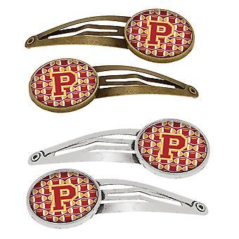 Letter P voetbal kardinaal en gouden Set van 4 haarspeldjes Hair Clips