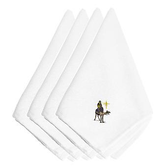 クリスマス降誕ワイズマン刺繍ナプキン 4 枚セット