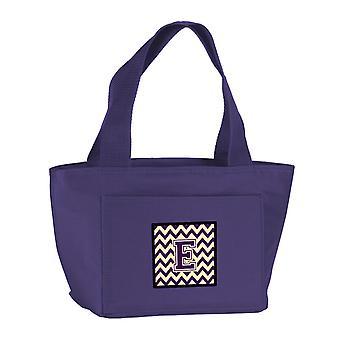 Carolines Treasures  CJ1058-EPR-8808 Letter E Chevron Purple and Gold Lunch Bag